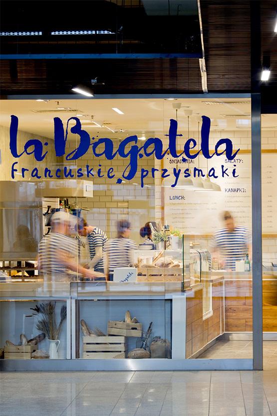Wnętrze piekarni cukierni zaprojektowane dla La Bagatela projekty lokali usługowych Grid Studio Projektowe